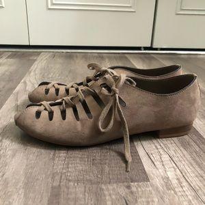 MIA Micro Suede Lace Up Flats Small Heel Peep Toe